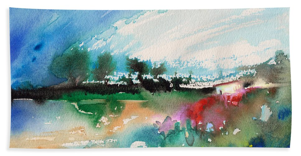 Watercolour Landscape Hand Towel featuring the painting Early Afternoon 13 by Miki De Goodaboom