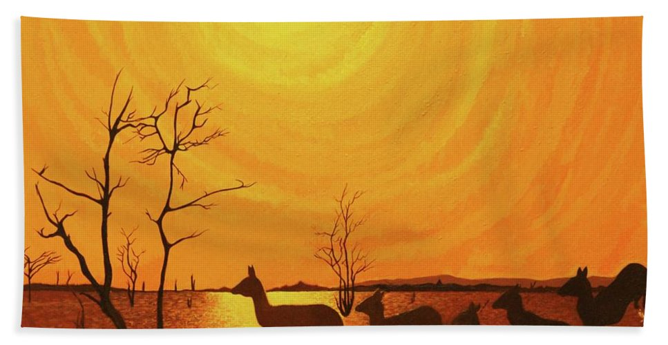 Acrylic Painting Hand Towel featuring the painting Early Dusk by Jack Harries
