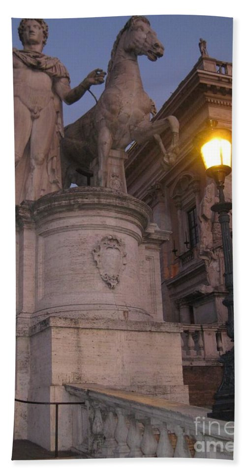Statue Bath Sheet featuring the photograph Early Evening In Rome by John Malone
