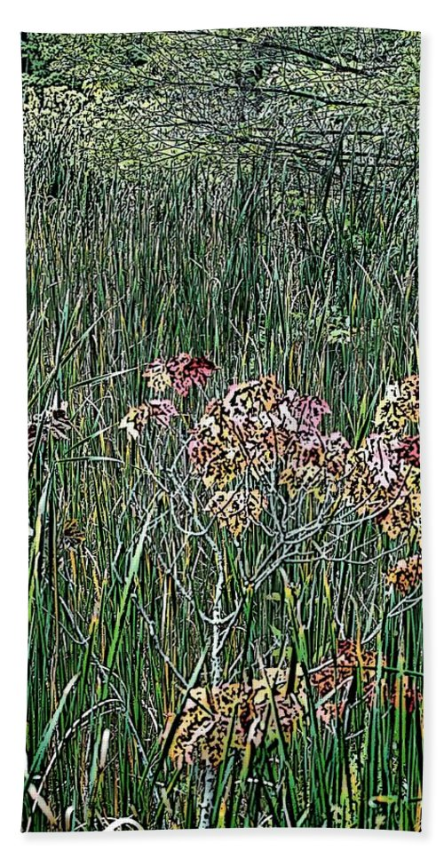 Digital Photograph Bath Towel featuring the photograph Early Fall Color Woodcut by David Lane