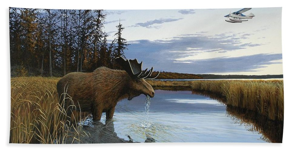 Moose Hand Towel featuring the painting Early Flight by Anthony J Padgett