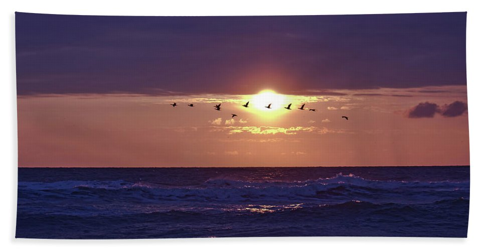 Beach Morning Sunrise Ocean Bath Sheet featuring the photograph Early Flight by Harrison Whittaker