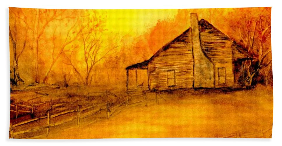 Cabin Hand Towel featuring the painting Early Kentucky Times by Gail Kirtz