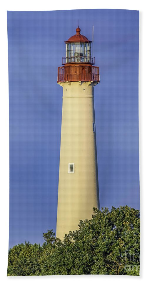 Cape May Bath Sheet featuring the photograph Early Light At Cape May Lighthouse by Nick Zelinsky