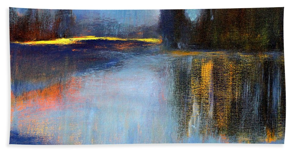 Blue Lake Landscape Painting Hand Towel featuring the painting Early Light by Nancy Merkle