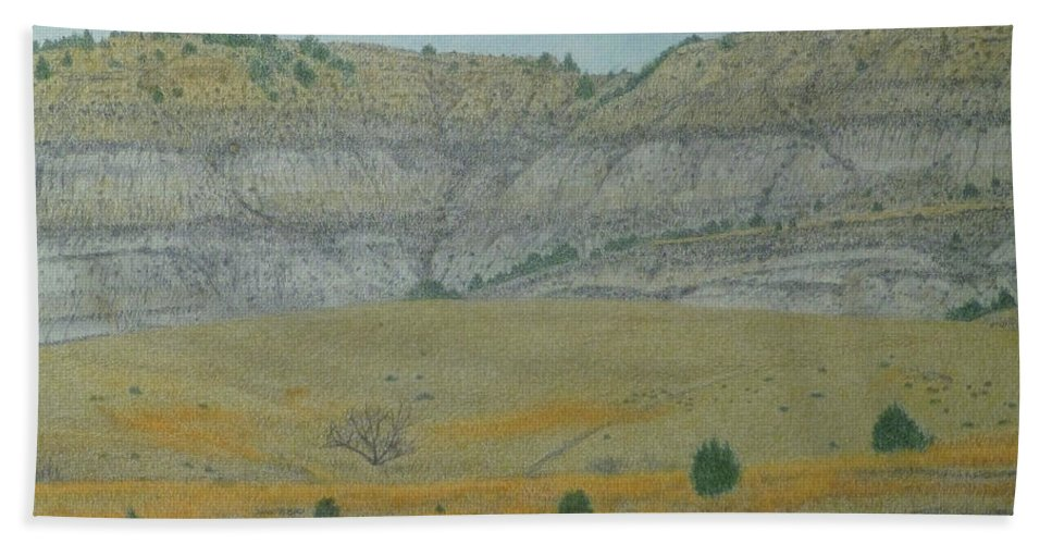 North Dakota Badlands Bath Towel featuring the pastel Early May On The Western Edge by Cris Fulton