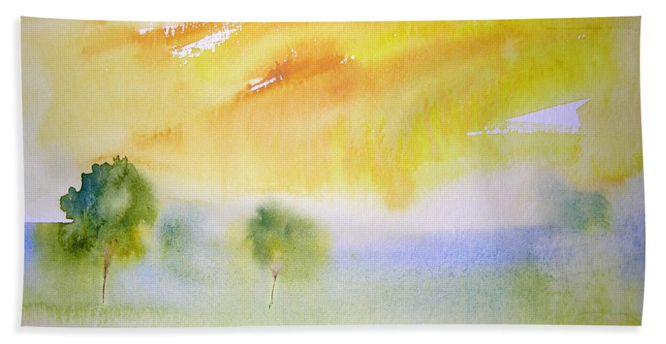Nature Hand Towel featuring the painting Early Morning 02 by Miki De Goodaboom