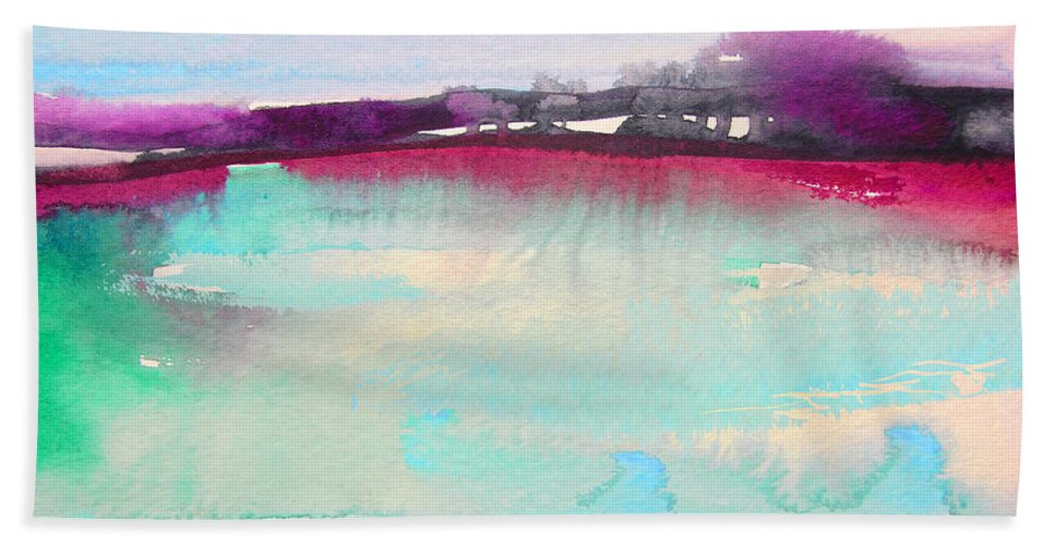 Watercolour Bath Sheet featuring the painting Early Morning 07 by Miki De Goodaboom