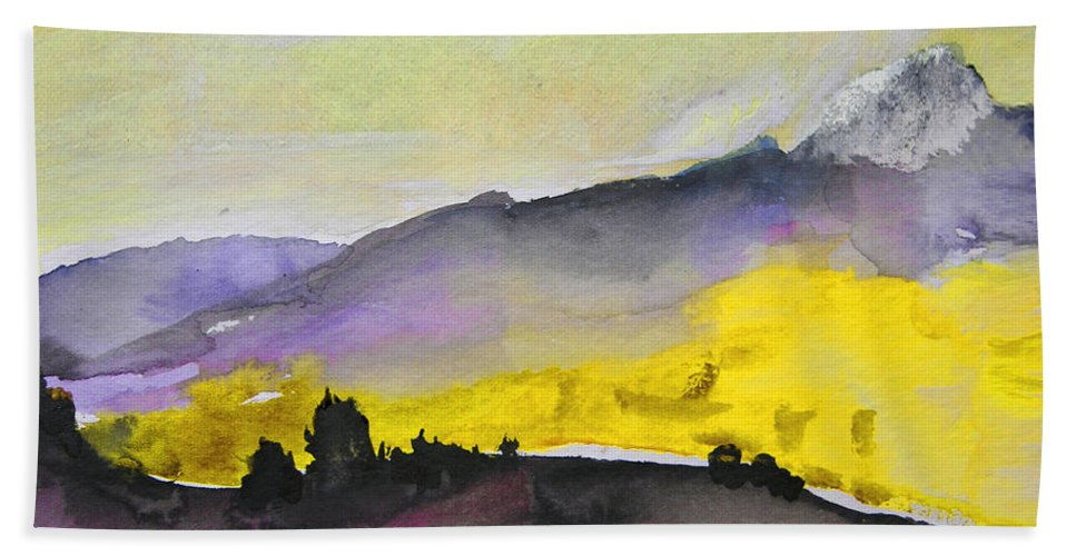Watercolour Hand Towel featuring the painting Early Morning 08 by Miki De Goodaboom