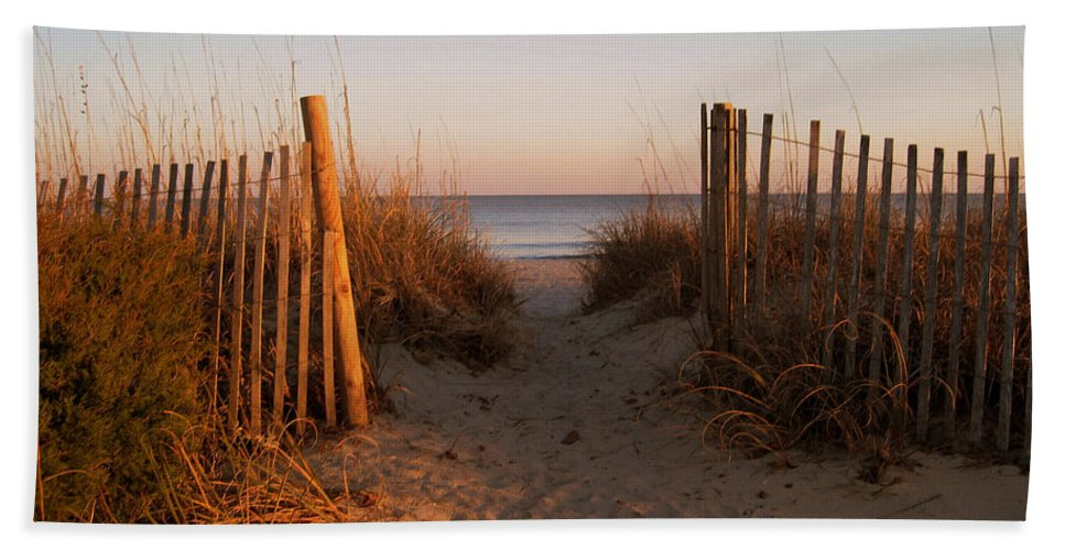 Beach Scene Hand Towel featuring the photograph Early Morning At Myrtle Beach Sc by Susanne Van Hulst