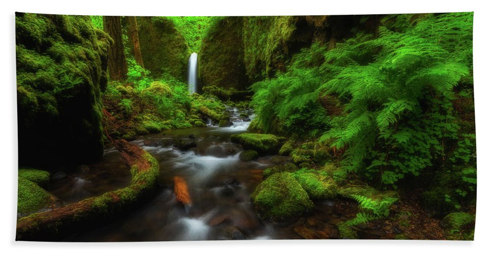 Oregon Bath Towel featuring the photograph Early Morning At The Grotto by Darren White