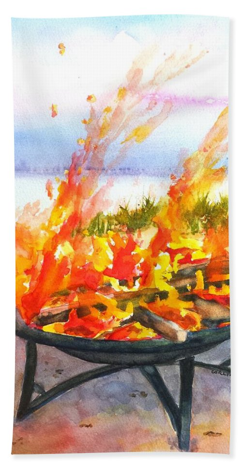 Beach Bonfire Hand Towel featuring the painting Early Morning Beach Bonfire by Carlin Blahnik CarlinArtWatercolor