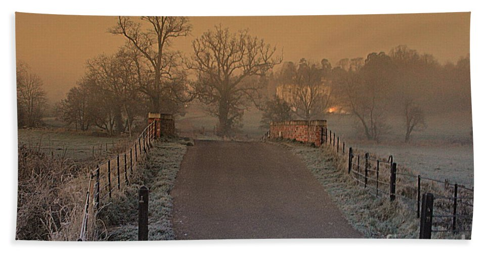 Early Morning Bath Sheet featuring the photograph Early Morning Driveway by Andy Thompson