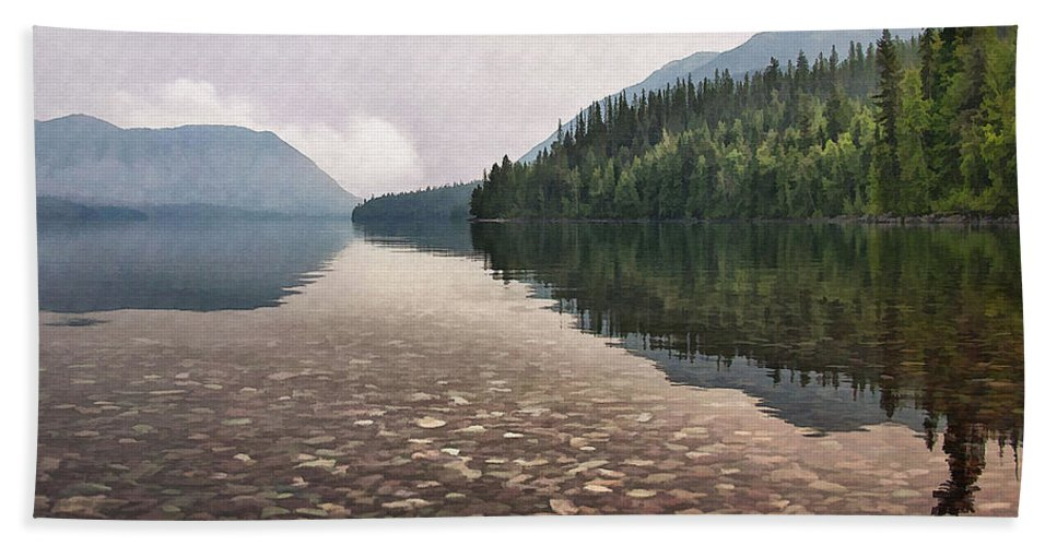 Landscape Bath Sheet featuring the digital art Early Morning On Lake Mcdonald II by Sharon Foster