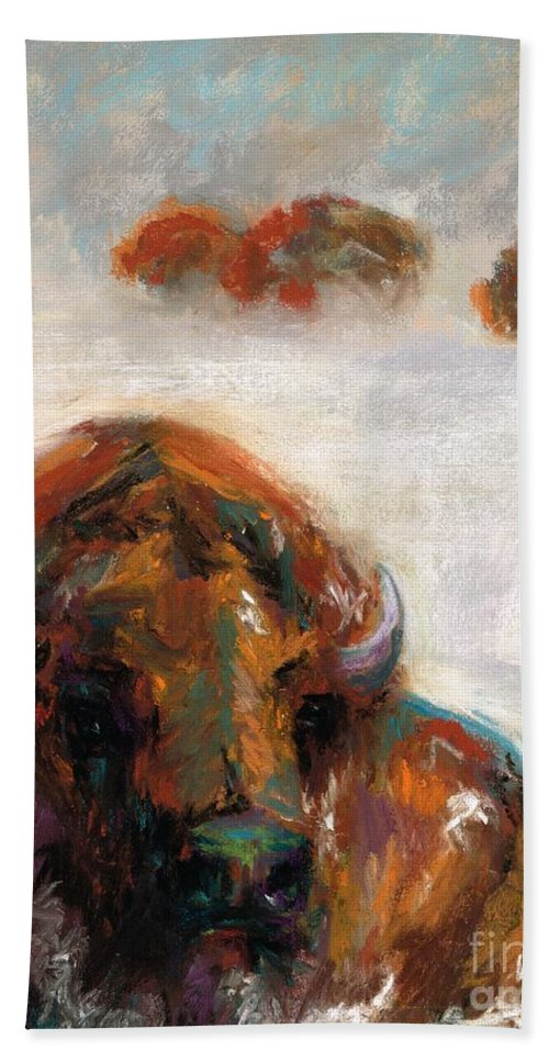 Buffalo Hand Towel featuring the painting Early Morning Snow by Frances Marino