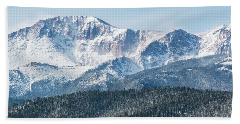 Pikes Peak Hand Towel featuring the photograph Early Morning Snow On Pikes Peak by Steve Krull