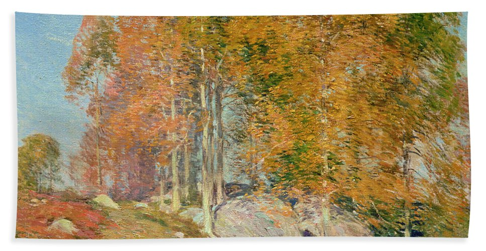 Early October Bath Sheet featuring the painting Early October by Willard Leroy Metcalf
