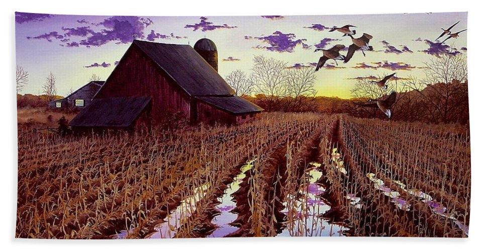 Canadian Geese Hand Towel featuring the painting Early Return by Anthony J Padgett