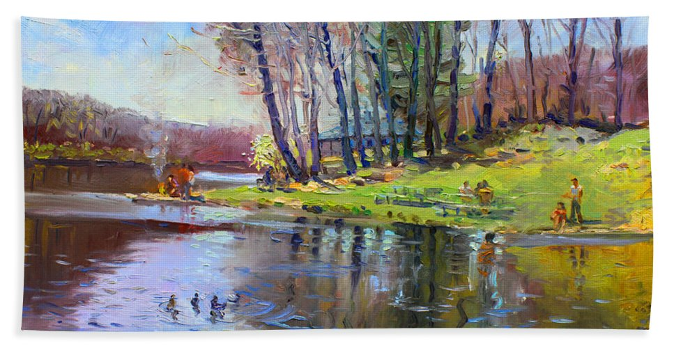Landsape Hand Towel featuring the painting Early Spring In Bear Mountain by Ylli Haruni