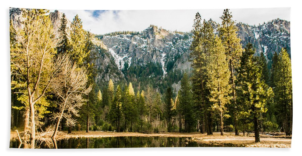 Landscape Bath Sheet featuring the photograph Early Spring Reflections by Susan Eileen Evans