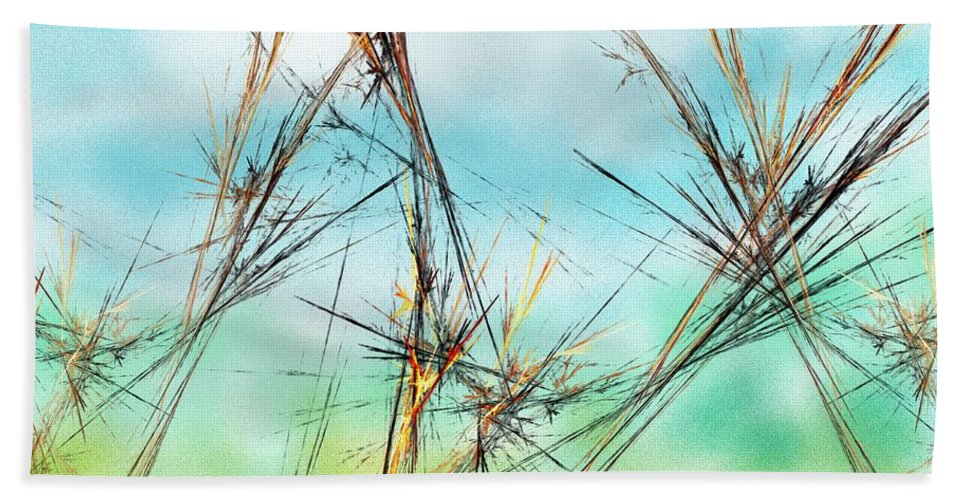 Digital Painting Bath Sheet featuring the digital art Early Spring Twigs by David Lane