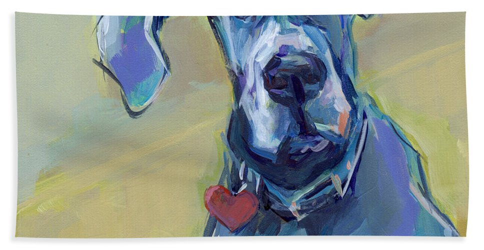 Great Dane Hand Towel featuring the painting Ears by Kimberly Santini