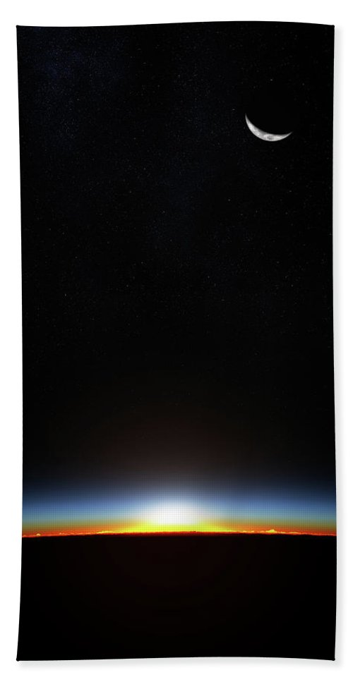 Planet Bath Towel featuring the photograph Earth Sunrise Through Atmoshere by Johan Swanepoel