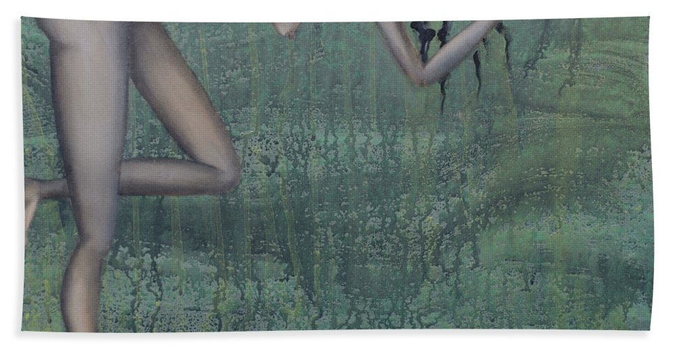 Earth Bath Sheet featuring the painting Earth Woman by Kelly Jade King