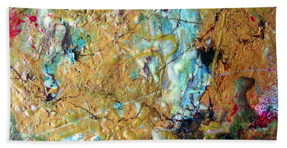 Art Bath Sheet featuring the painting Earth's Embrace by Dawn Hough Sebaugh