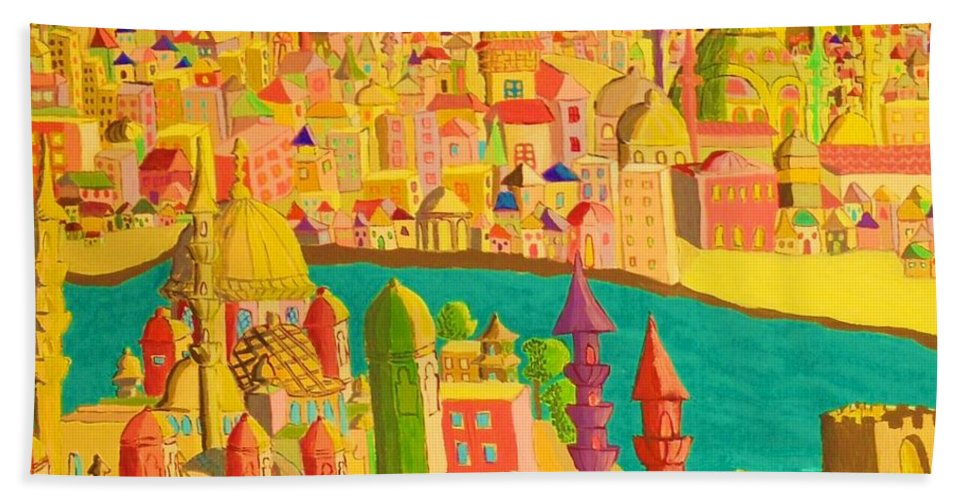 Castles Hand Towel featuring the painting East And West by Mimi Revencu