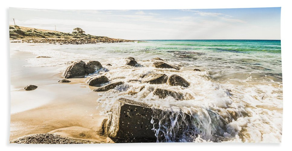 Tasmania Hand Towel featuring the photograph East Coast Of Tasmania Seascape by Jorgo Photography - Wall Art Gallery