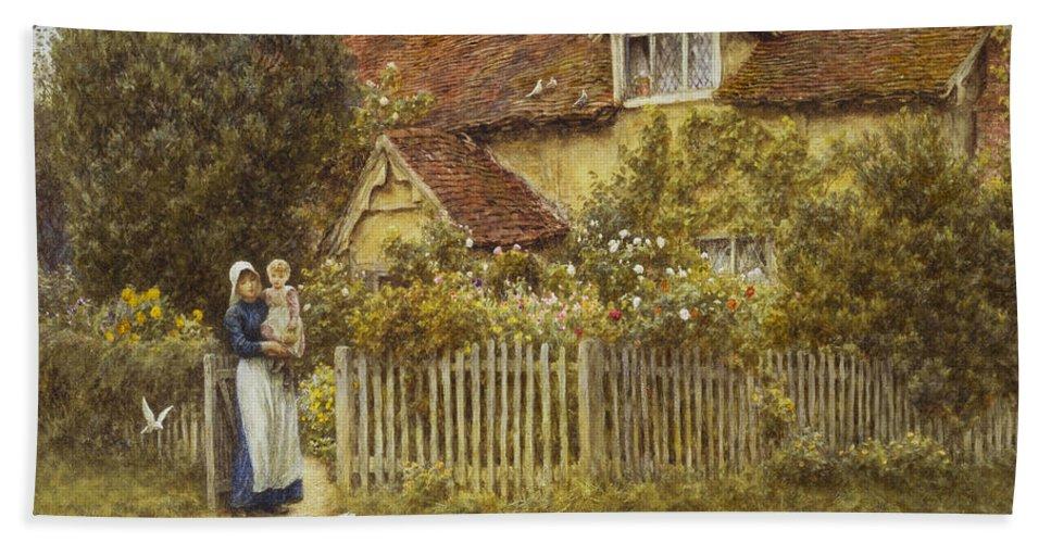 East End Farm Bath Sheet featuring the painting East End Farm Moss Lane Pinner by Helen Allingham