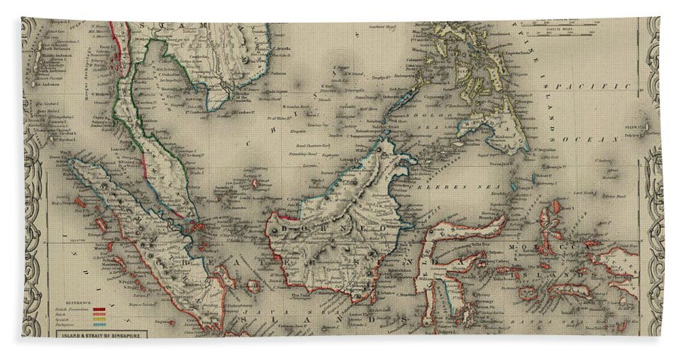 East Map Bath Towel featuring the drawing East Indies by Colton