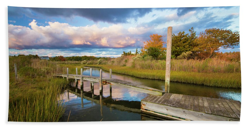 East Hand Towel featuring the photograph East Moriches Reflections by Robert Seifert