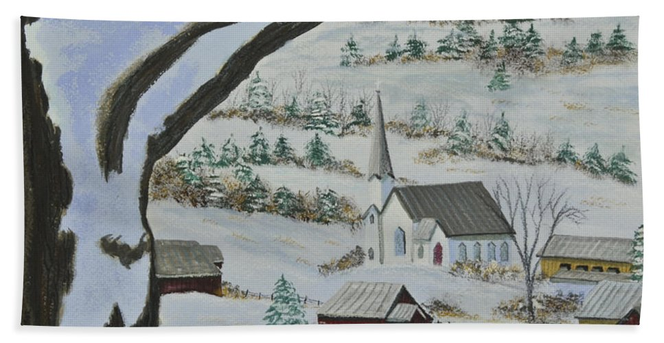 Winter Scene Paintings Hand Towel featuring the painting East Orange Vermont by Charlotte Blanchard