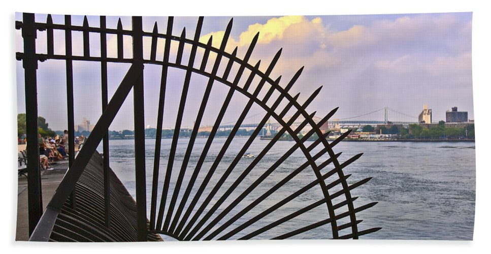 East River Hand Towel featuring the photograph East River View Through The Spokes by Madeline Ellis