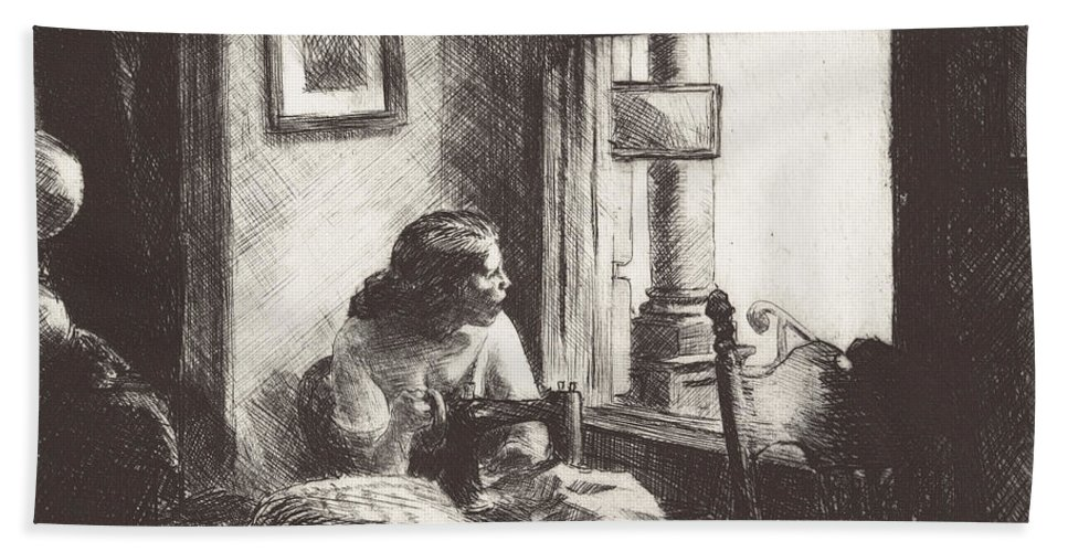 Hand Towel featuring the drawing East Side Interior by Edward Hopper