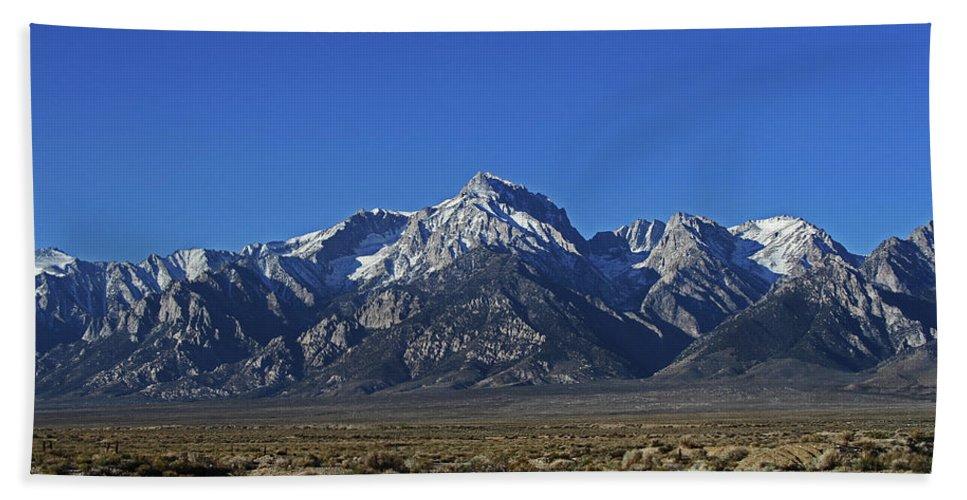 East Side Sierra Nevada Range Hand Towel featuring the photograph East Side Sierra Nevada Range by Tom Janca