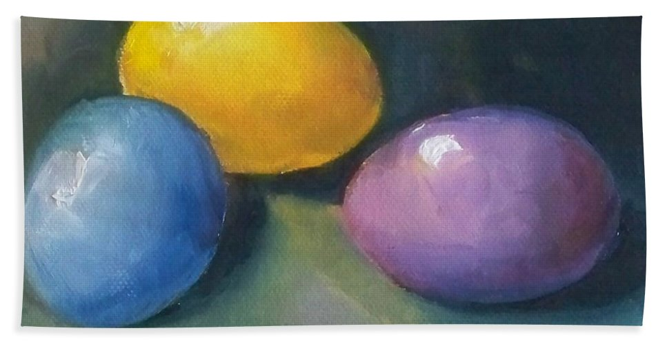 Easter Eggs Bath Sheet featuring the painting Easter Eggs No. 1 by Kristine Kainer