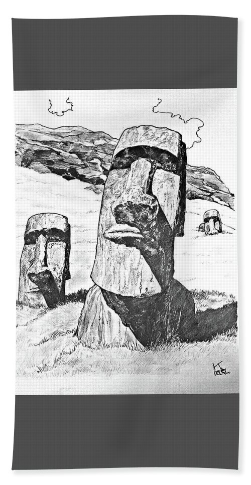 Easter Island Bath Sheet featuring the drawing Easter Island by Corey Jenny