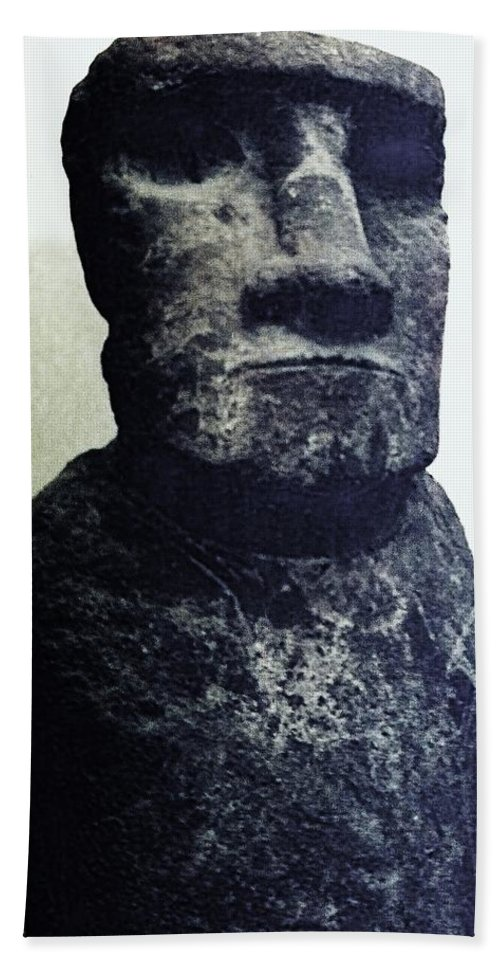 Easter Island Hand Towel featuring the painting Easter Island Stone Statue by Eric Schiabor
