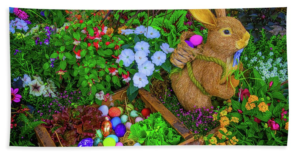 Colorful Hand Towel featuring the photograph Easter Rabbit In Garden by Garry Gay