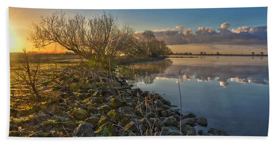 Holland Bath Sheet featuring the photograph Easter Sunrise by Frans Blok