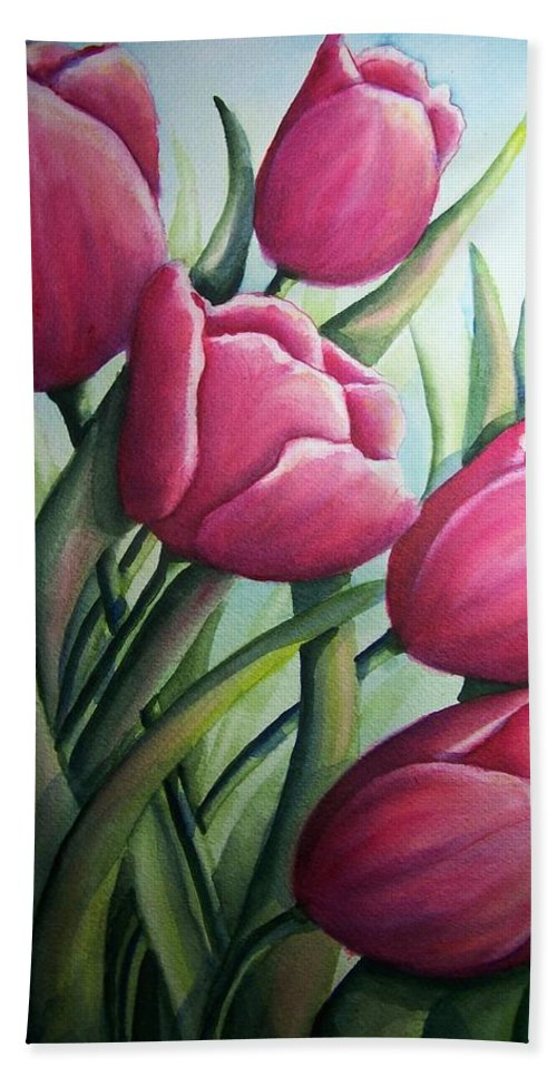 Easter Hand Towel featuring the painting Easter Tulips by Conni Reinecke