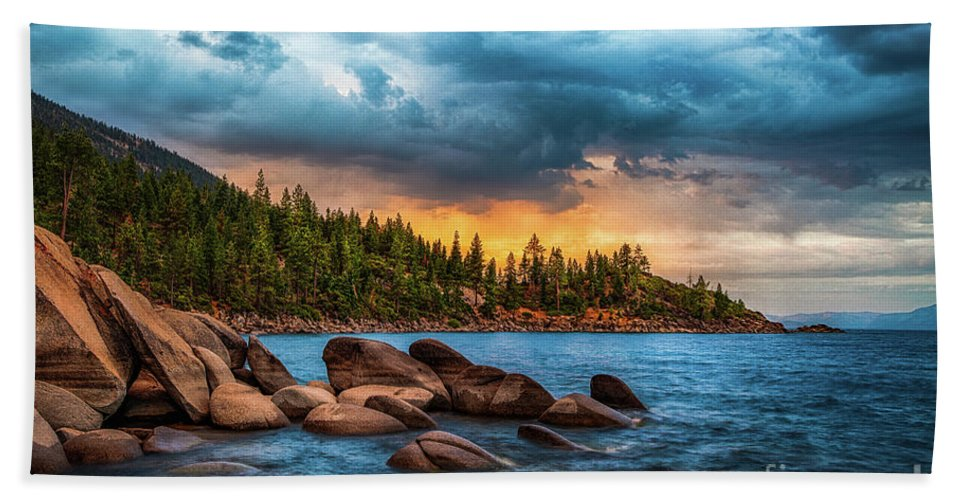 Lake Tahoe Hand Towel featuring the photograph Eastern Glow At Sunset by Anthony Bonafede