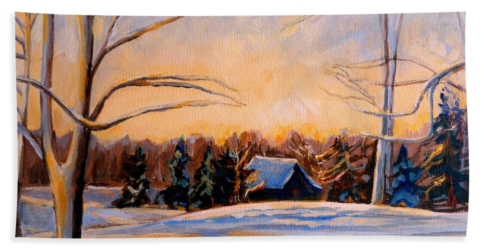 Winter Landsacape Hand Towel featuring the painting Eastern Townships In Winter by Carole Spandau