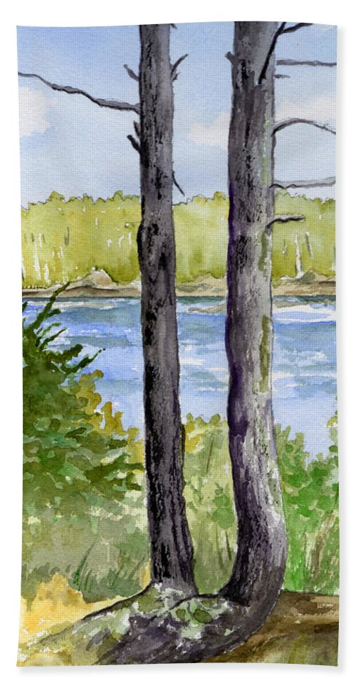 Landscape Seascape Trees Ocean Sea Maine Bath Towel featuring the painting Eastport Maine Coastal Afternoon by Brenda Owen