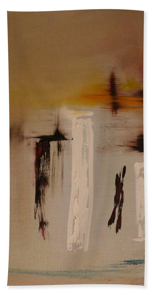 Abstract Hand Towel featuring the painting Easy by Jack Diamond