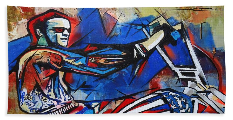 Peter Fonda Bath Towel featuring the painting Easy Rider Captain America by Eric Dee