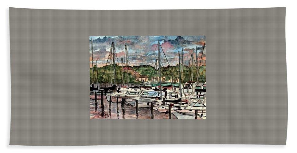 Sailboat Hand Towel featuring the painting Eau Gallie Seascape Painting by Derek Mccrea